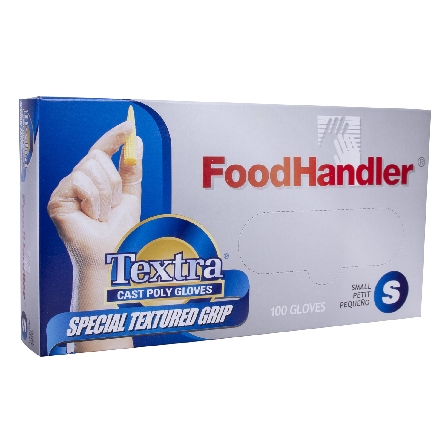 Clear FoodHandler 104-FHCT18-CP FoodHandler Textra Textured Cast Pack of 400 X-Large Poly